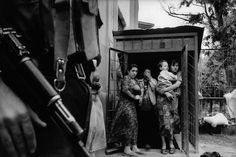 Chechen civilians at their bunker during a lull in the fighting. During Russia's first war in Chechnya. 8/1996