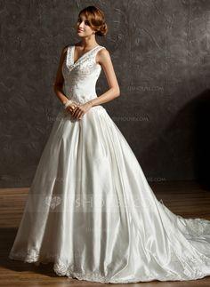 Wedding Dresses - $205.99 - Ball-Gown V-neck Chapel Train Satin Wedding Dress With Embroidery Beadwork Sequins (002011506) http://jjshouse.com/Ball-Gown-V-Neck-Chapel-Train-Satin-Wedding-Dress-With-Embroidery-Beadwork-Sequins-002011506-g11506?ver=n1ug2t&ves=k41wn