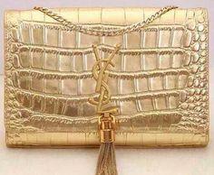 Yves Saint Laurent Monogramme Croco Leather Cross-body Bag Y32218 Gold ceeea1737b034