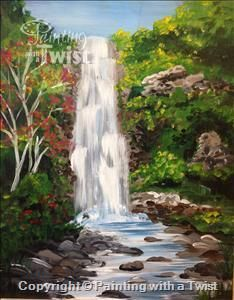 waterfalls acrylic my paintings pinterest acrylics