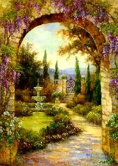 ART FINE~ Lena Liu~ Arches And Flowers And Fountain And Gate. . . Follow The Path? Why Wait?