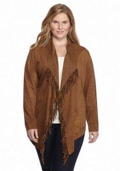 Ruby Rd  Plus Size Blanket Statement Fringe Suede Jacket