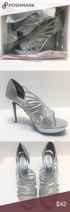 "Touch Ups Carey Silver Strappy Heels Open Toe New in Box Carey Sparkly Strappy 4"" Stiletto Heels. Back is Closed.  Slip On.  Open Toe  Size 11M Touch Ups Shoes Heels"