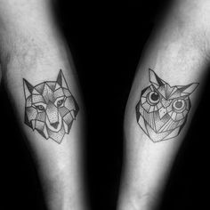 Inner Forearms Fox And Owl Mens Geometric Tattoos #TattoosforLife