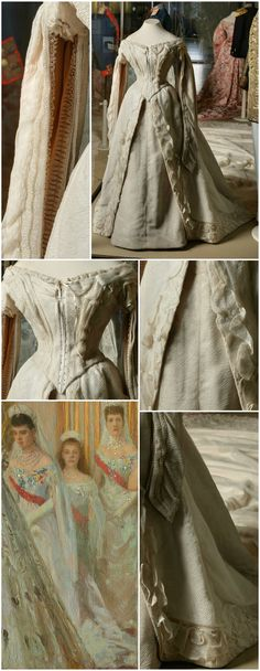 """Ceremonial court dress, made by the workshop of A. T. Ivanova, St. Petersburg, 1894. Worn by Dowager Empress Maria Fyodorovna on the occasion of the marriage of Tsar Nicholas II to Grand Duchess Alexandra Fyodorovna in 1894. Detail from Tuxen's 1895 painting, """"Wedding of Nicholas II and Grand Duchess Alexandra Fyodorovna,"""" shows Maria Fyodorovna (left) in court dress. Collection of the State Hermitage Museum (see: http://hermitage.guide/costume/costume1.html)."""