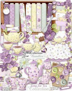 Digital scrapbooking cute tea set and card making cute tea set kit. Memories anyone??? FQB - Time for Tea Collection