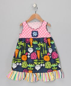 Take a look at this Navy & Pink Veggie Ruffle Dress - Toddler & Girls by SILLY MILLY on #zulily today!