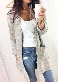 Grau Einfarbige Taschen Rundhals Mode Damen Lässige Cardigan lange Strickjacke mit Langarm