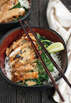 Thai Pork Rice Bowl with Peanut Sauce, Spinach and Lime Rice