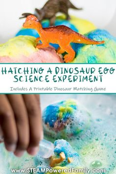 Hatch a baking soda dinosaur egg with science! This fun and easy chemistry experiment will capture the imagination of all ages. An extremely easy science experiment you can do in the classroom or at home using simple pantry ingredients and a few toys. This activity can be done by preschool and up and is a great way to also build fine motor skills. Includes a dinosaur game printable so kids can test their dinosaur knowledge. #Homeschool #Chemistry #ScienceExperiment