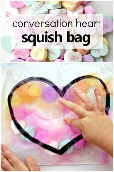 Valentine's Conversation Heart Squish Bag Science – Fantastic Fun & Learning Conversation Heart Sensory Squish Bag for Toddlers and Preschoolers-with a fun science twist! Valentine Sensory, Science Valentines, Valentine Theme, Valentine Crafts For Kids, Valentines Day Activities, Valentine Ideas, Printable Valentine, Valentine Nails, Homemade Valentines