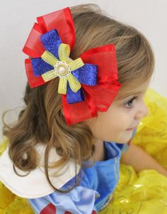 Snow White Hair Bow  Red Blue Yellow Bow for by SweetestBugBows, $10.00