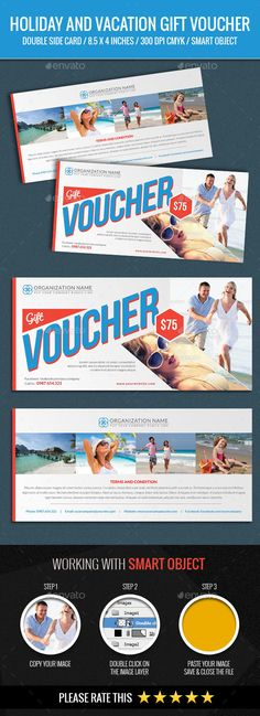 Holiday and Vacation Gift Voucher Template PSD #design Download: http://graphicriver.net/item/holiday-and-vacation-gift-voucher/14277874?ref=ksioks