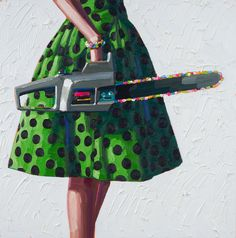 """""""Spotted"""" Los Angeles-based painter Kelly Reemtsen's newest works focus on the subject matter of well-dressed women toting household tools that range from mallets to power saws, each held in a causal position that demonstrates a comfortableness with the object in-hand. Each figure is anonymous, the head of the woman not included in the cropped images of dress, heels, and tool."""