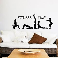 Fitness Wall Decal Fitness Time Athlete Girls Sport Sticker Yoga Vinyl Decals Gym Art Mural Bedroom Interior Design Gymnast Living Room Decor