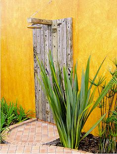 outdoor shower, that yellow is awesome