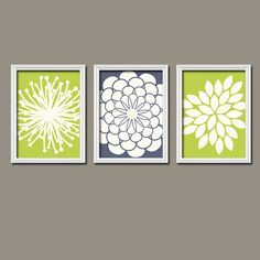 Lime Green Navy Ivory Flower Burst Gerbera Daisies by trmDesign, $30.00 for master bedroom decor