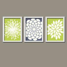 Lime Green Wall Art wall art - modern bird trio - set of three 8x10 prints - modern