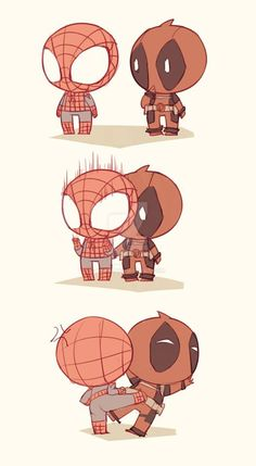 Spiderman x Deadpool Chibi Marvel, Marvel Dc Comics, Marvel Heroes, Marvel Avengers, Spideypool, Superfamily, Iron Man Capitan America, Deadpool Y Spiderman, Spaider Man