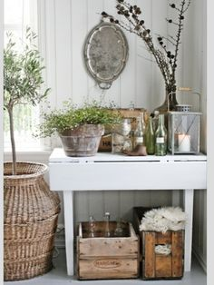 VIBEKE DESIGN: love the living green plants added to this display. Country Decor, Rustic Decor, Farmhouse Decor, Country Living, Rustic Entryway, Country Casual, Rustic Shabby Chic, Farmhouse Lighting, Country Charm