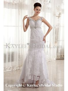 Satin and Lace V-Neckline Court Train Sheath Wedding Dress with Embroidered