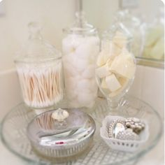 Bathroom Jars use apothecary jars in the bathroom for a touch of glamour | for