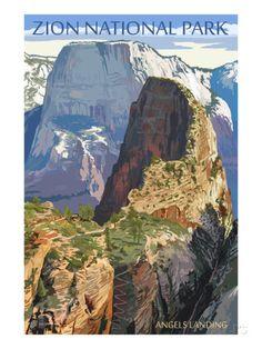 Zion National Park - Angels Landing Reproduction d'art
