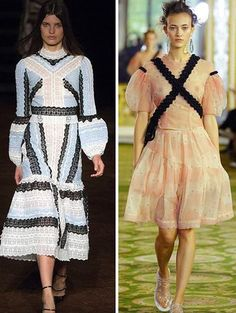 I think the patterns on all of these looks are atrocious, especially in combination with the super strange sleeves. Especially that crazy worm black and white pattern.