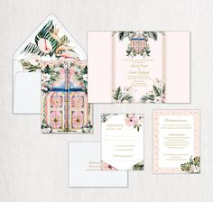 This design is inspired by the warm wind of the Moroccan summer, its original culture, decor, architecture and unusually elegant color combinations. Destination Wedding Save The Dates, Destination Wedding Inspiration, Destination Wedding Invitations, Wedding Stationery, Ink Color, Invitation Cards, Color Combinations, Moroccan, Culture