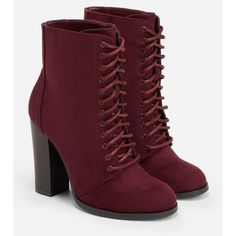 Justfab Booties Cambria ($40) ❤ liked on Polyvore featuring shoes, boots, ankle booties, red, lace up high heel booties, faux suede booties, platform booties, tall boots and high heel ankle boots