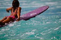 World champion longboarder Kelia Moniz during a free surf in Oahu.