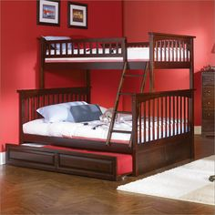 Low height bunk bed with trundle