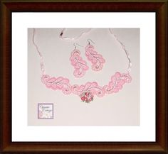 Vintage Lace Necklace - Vintage Lace Earrings - Set - Pink | ChristieCottage - Jewelry on ArtFire