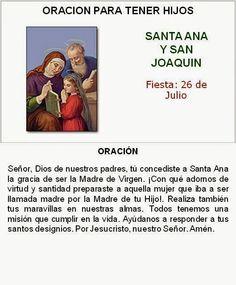 Oración para tener hijos, Santa Ana y San Joaquín.