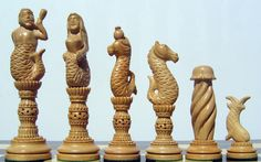 The hand carved ebony chess set: Pictures shows the boxwood (white) pieces.