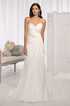 This Chiffon wedding dress from the Essense of Australia collection features lovely Diamante accents that give the illusion that they are woven around the bodice.