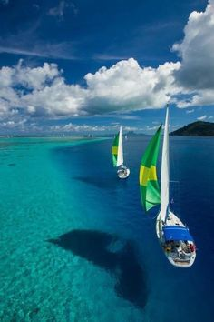 Sailing the azzure waters of Tahiti. The crystal clear ocean around Tahiti is a sailer's paradise. Oh The Places You'll Go, Places To Travel, Places To Visit, Travel Destinations, Dream Vacations, Vacation Spots, Romantic Vacations, Italy Vacation, Italy Travel