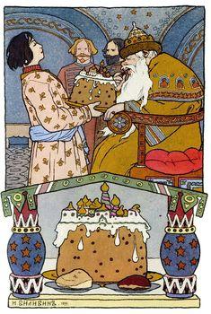 "Ivan Bilibin, illustration from a fairy tale ""The Frog Princess"". Russian Folk, Russian Art, Frog Princess, Ligne Claire, Fairytale Art, Children's Book Illustration, Book Illustrations, Conte, Childrens Books"