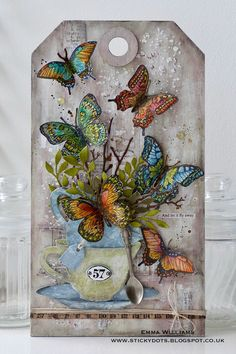 Emma created a kaleidoscope of butterflies on her tag ~ Simon Says Stamp Monday Challenge Blog