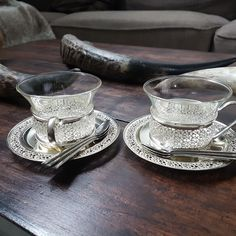 Vintage tempered glass coffee cups with metal cup holders and tray, set of two teacups, coffee or cappuccino glasses with metal cup holders