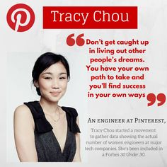 Tracy Chou | An engineer at Pinterest, Tracy Chou started a movement to gather data showing the actual number of women engineers at major tech companies. Vogue: http://www.vogue.com/4537369/pinterest-tracy-chou-silicon-valley/