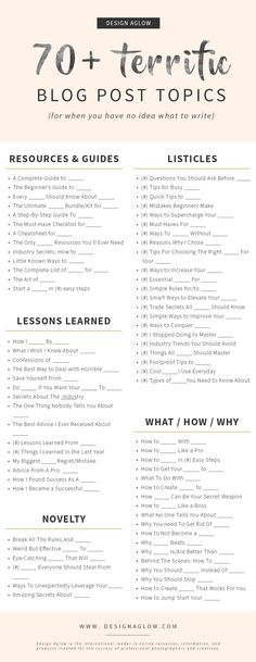 70+ Terrific Blog Post Topics (for when you have no idea what to write – Design Aglow