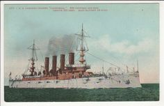 US Armored Cruiser CALIFORNIA  Navy Ship Military Vintage Mitchell Postcard