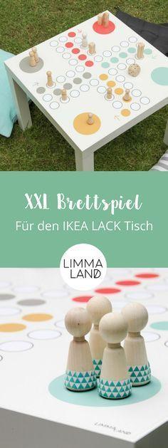 Ein Mensch ärger dich nicht Spiel in XXL - das ist das perfekte Spiel für drinnen und draußen. Wer würde nicht gerne im Garten auf dieser schönen Platte eine Runde mitspielen?! Einfach und schnell gemacht mit passender Klebefolie für einen #IKEA Lack Tisch #ikeahack