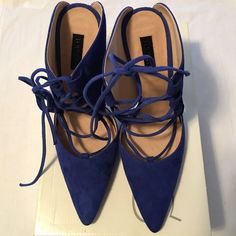 I just discovered this while shopping on Poshmark: TopShop Blue Lace Up Mules   NWT. Check it out!  Size: 9