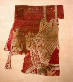 Fragment of a Caftan (Coat) Covered with Byzantine Silk Showing Pheasants Date: Early medieval culture of the Adygo-Alanian tribes. 8th-9th century Place of finding: North-western Caucasus, Karachayevo-Cherkessk Republic Archaeological site: Moshchevaya Balka Burial Mound Material: silk Dimensions: 57x44 cm Acquisition date: Entered the Hermitage in 1976; originally in the materials collected by the North Caucasian Archaeological Expedition in 1973-1974 Inventory Number: КЗ-6618