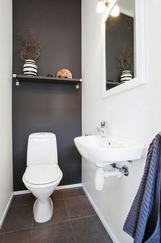 Space Saving Toilet Design for Small Bathroom - Home to Z Space Saving Toilet, Small Toilet Room, Guest Toilet, New Toilet, Cloakroom Toilet Downstairs Loo, Narrow Bathroom, Bathroom Design Small, Toilet Design, Sombre