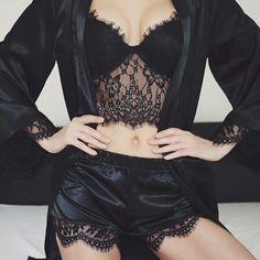 Black silk and lace lingerie Lingerie Xxl, Pretty Lingerie, Beautiful Lingerie, Lingerie Sleepwear, Nightwear, Women Lingerie, Black Lingerie, Lingerie Shorts, Fashion Design Inspiration