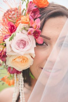 Tropical and colorful flower crown from Passion Roots | Bit of Ivory Photography | Burnetts boards