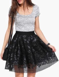 Floral Leather Skater Skirt